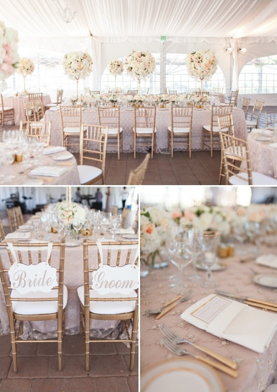 glamorous tent reception decked out in amazing florals plus fun bride and groom seat signs