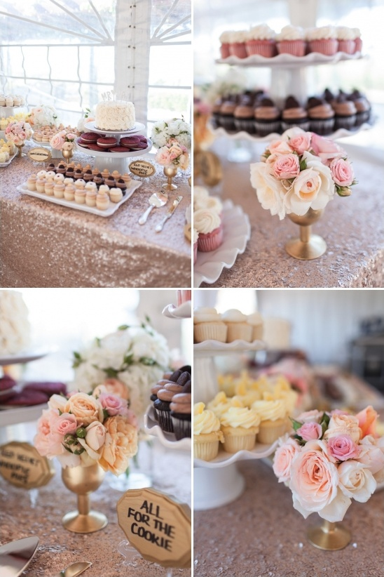 copper sequin tablecloth dessert table with oodles of sweets