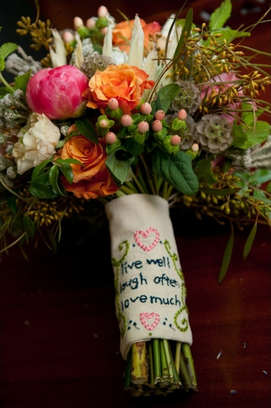 live well laugh often love much embroidered bouquet wrap