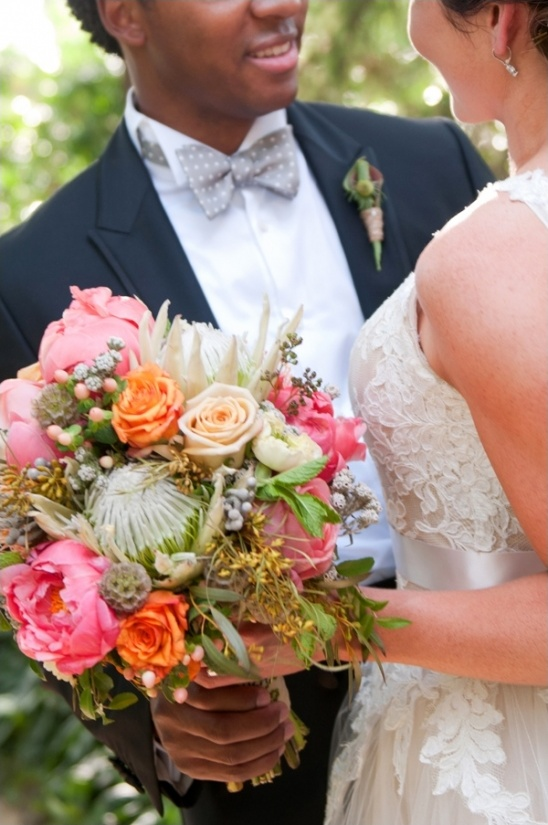 first look and protea bouquet