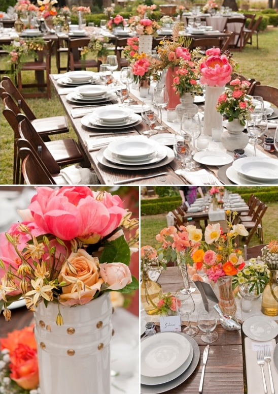 hot pink orange and yellow floral decor