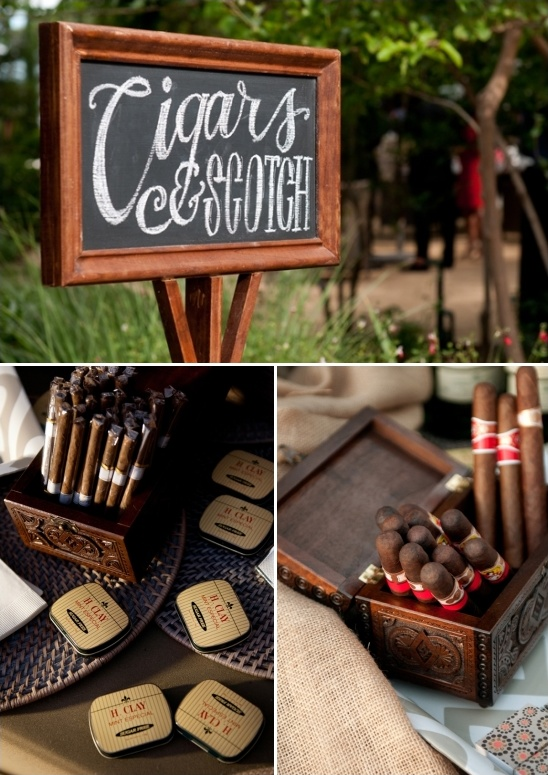 Cigar bar for the reception
