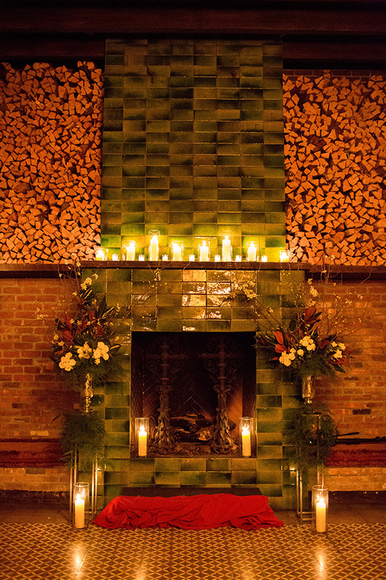 fire place backdrop for wedding ceremony