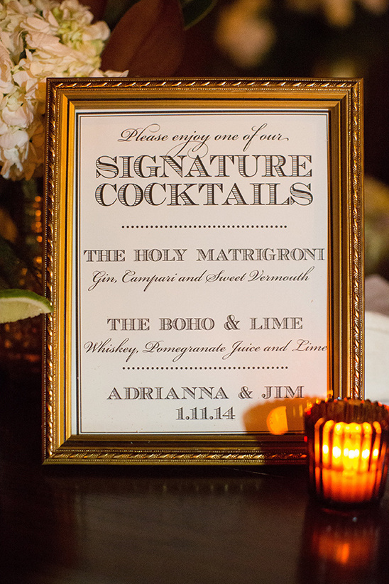 signature cocktails sign