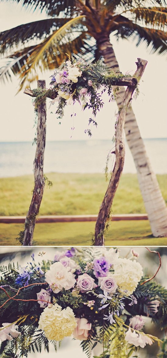 flower topped wedding arch
