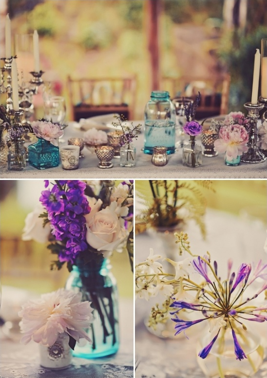 purple blue and silver table decor