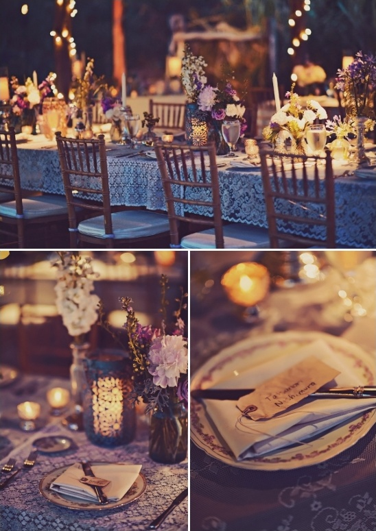 vintage candle lit reception tables