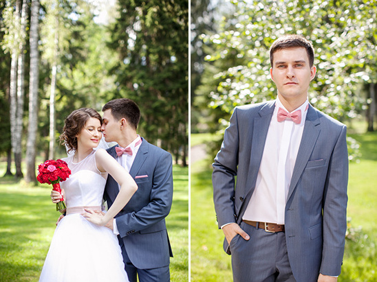 fun red and grey groom