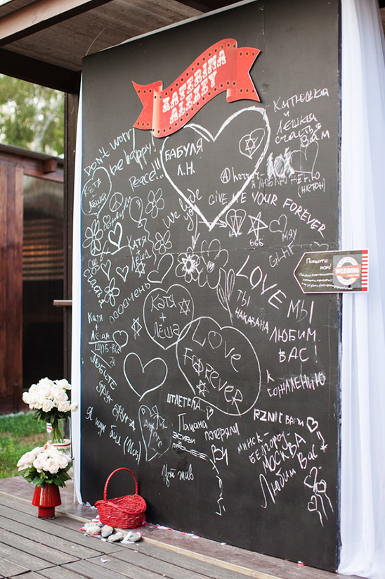 giant chalkboard wedding guestbook idea
