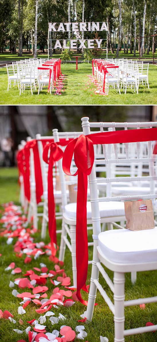 red and white outdoor ceremony