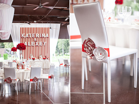 red and white paper blooms