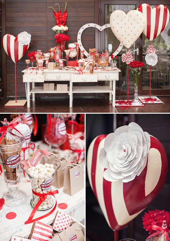 red and white heart covered dessert table
