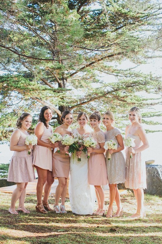 mix and match blush bridesmaids dresses