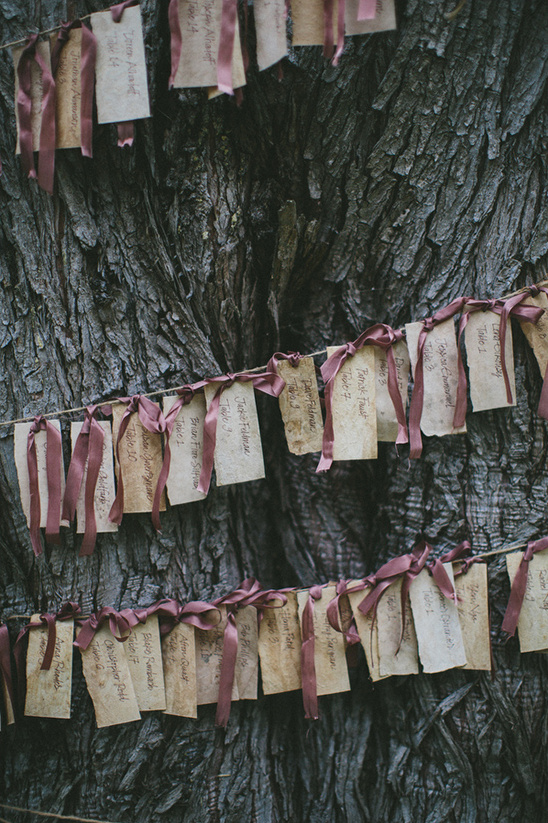 coffee stain ribbon hung escort cards