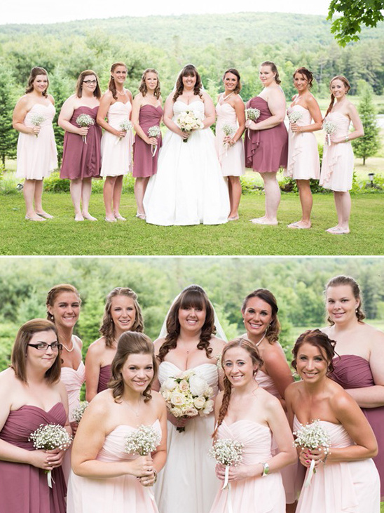 mixed pink bridesmaids dresses