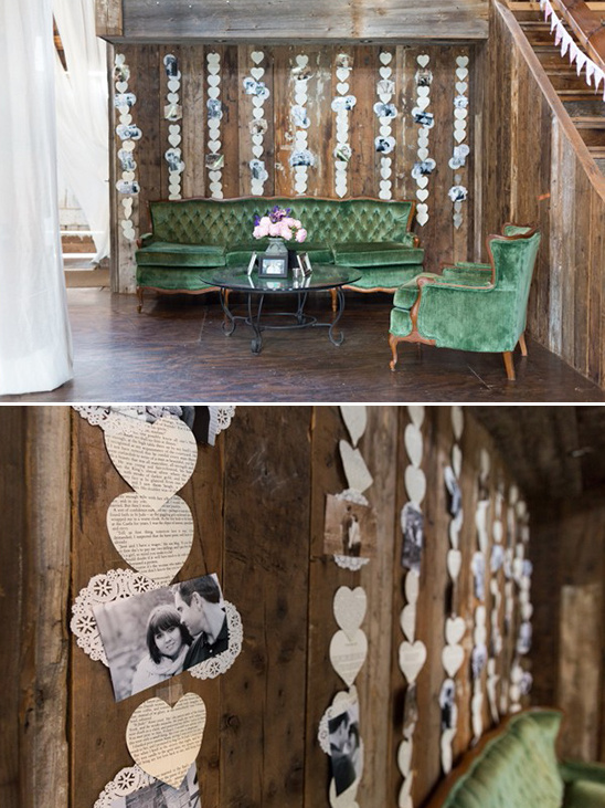 sitting area with newspaper hearts backdrop