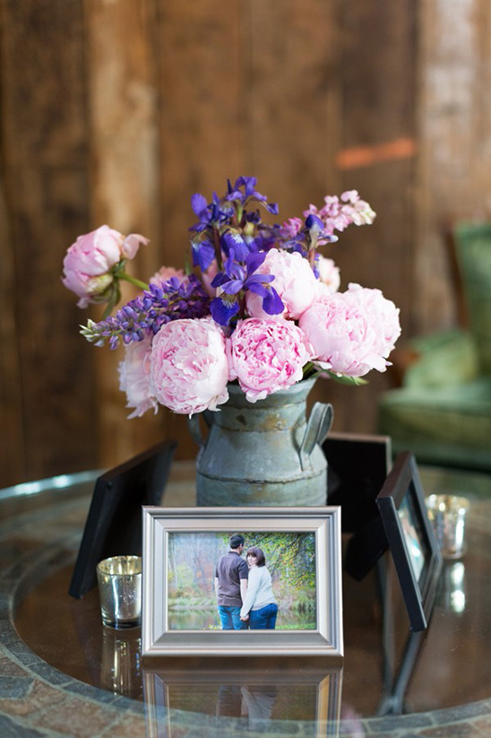 pink peony and iris centerpiece