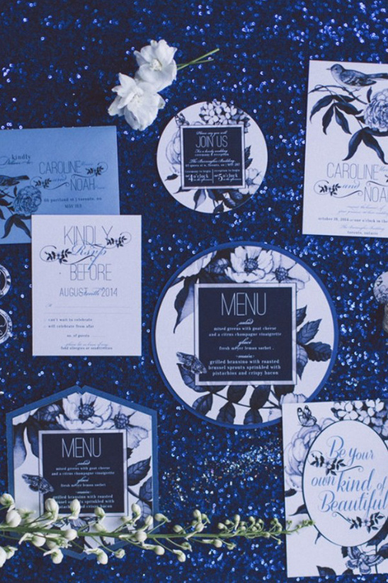 blue and white floral wedding stationery