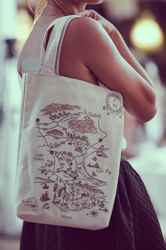 custom map wedding tote