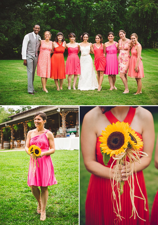 pink and coral bridesmaids with sunflowers