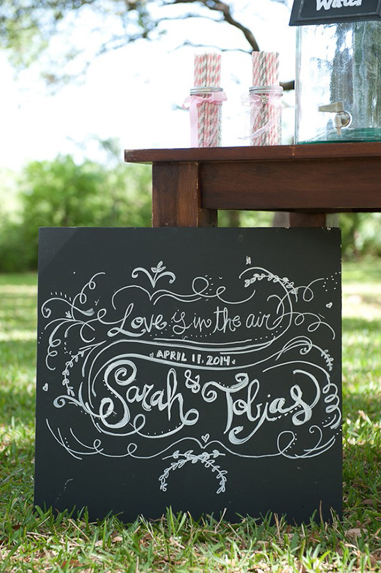 chalkboard love is in the air sign