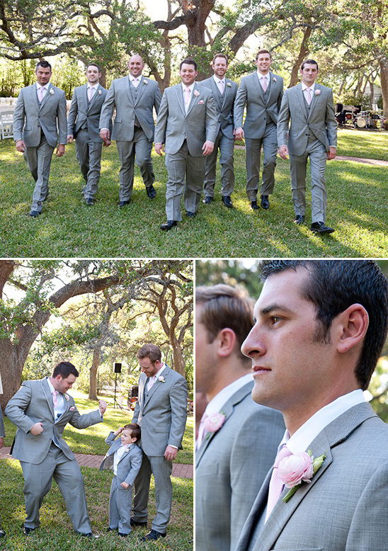 light grey and pink groomsmen attire