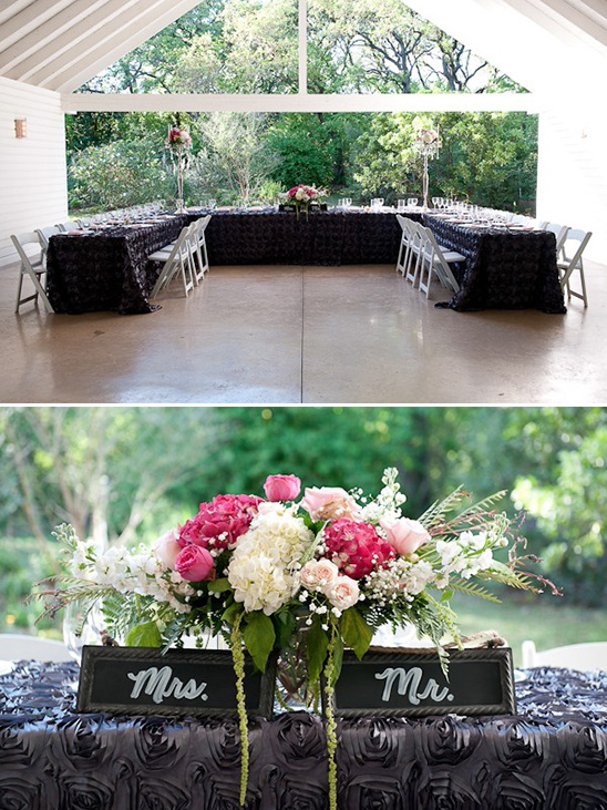 head table with chalkboard mr and mrs signs
