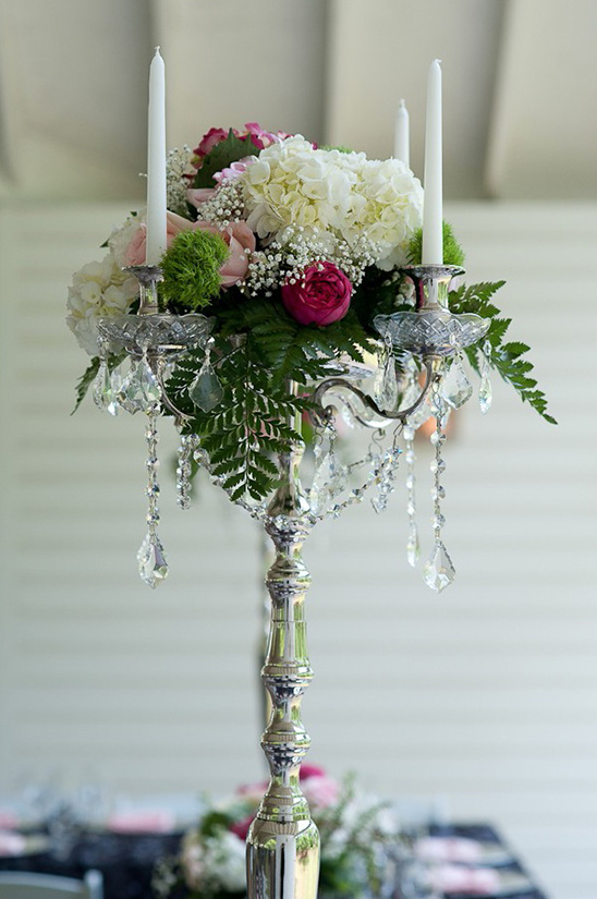 tall candle and flower centerpieces