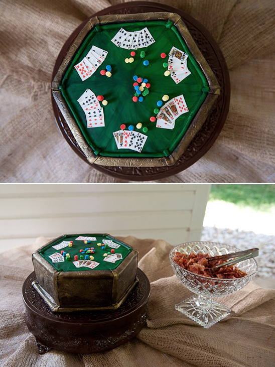 poker table grooms cake with bacon