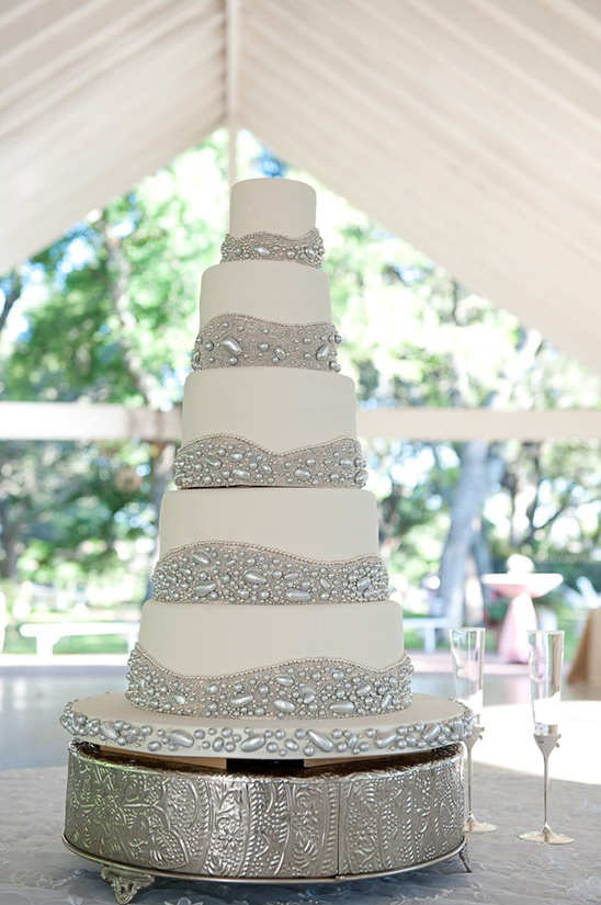 white and silver beaded wedding cake