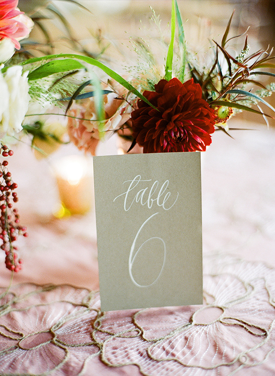 hand painted table numbers by Feast Calligraphy