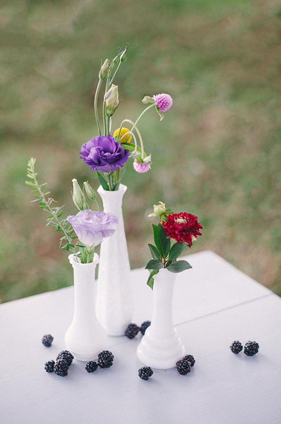 simple milk glass floral arrangement