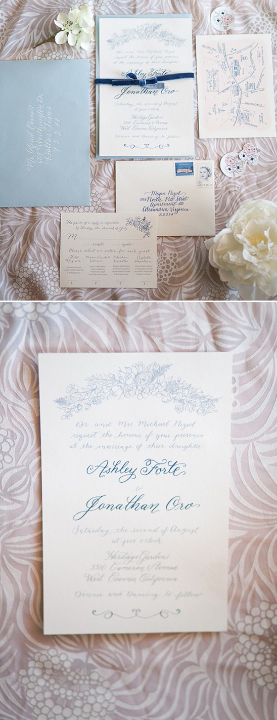 baby blue and cream wedding invites