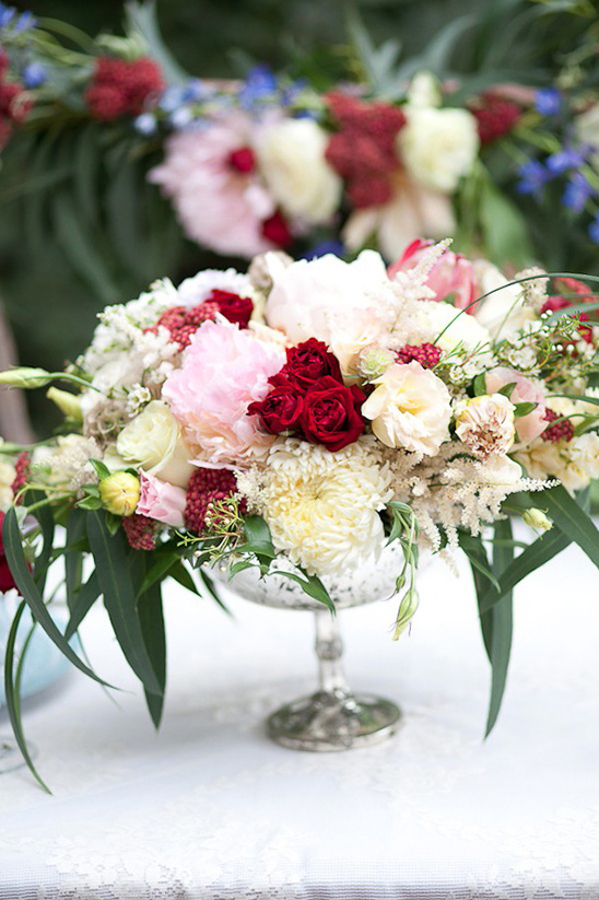 red pink and white floral centerpiece