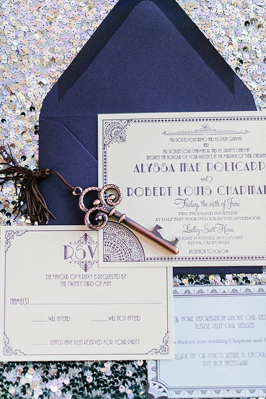 gatsby inspired wedding stationery