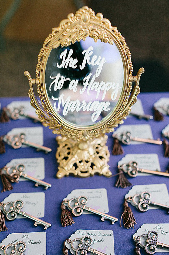 the key for a happy marriage escort cards
