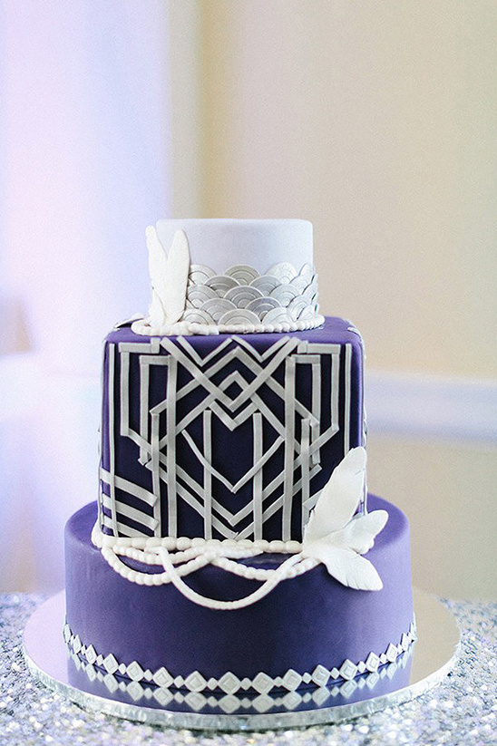 purple white and silver gatsby cake