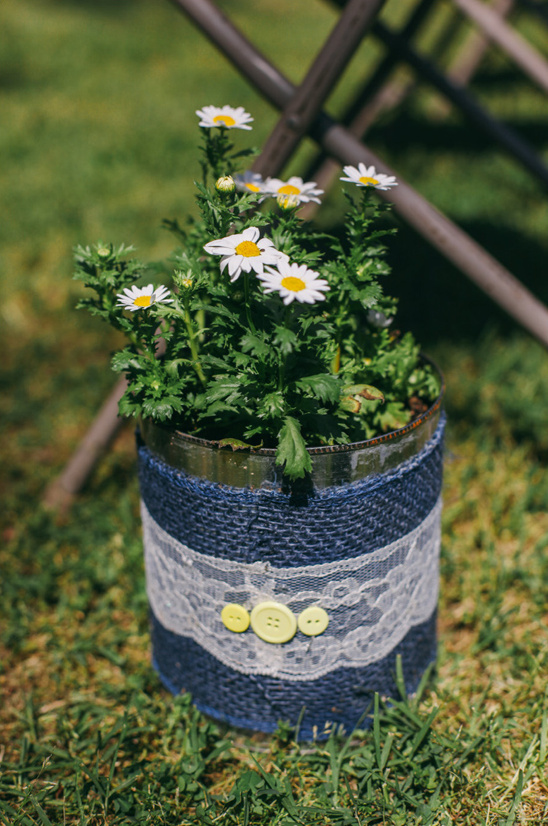 burlap and lace wrapped coffee can floral arrangement