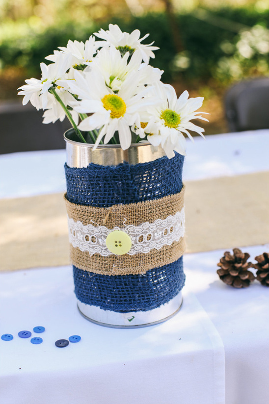 tin can wrapped burlap and lace