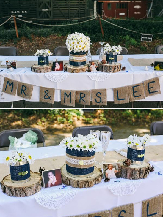 rustic wedding party table