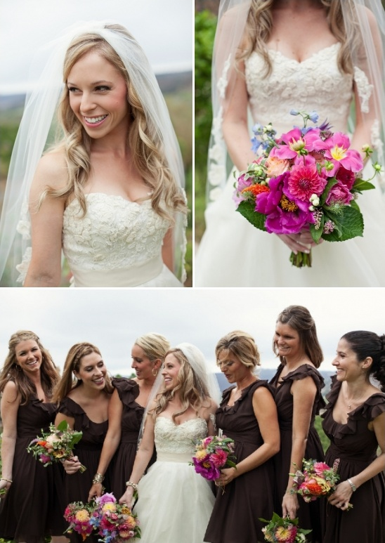 bridal party with bright bouquets and brown bridesmaid dresses