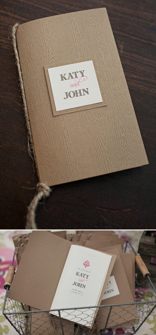 wedding programs with a fun wood texture