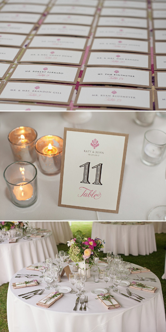escort cards and elegant table numbers