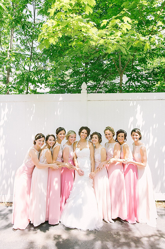 pink ombre long bridesmaids dresses