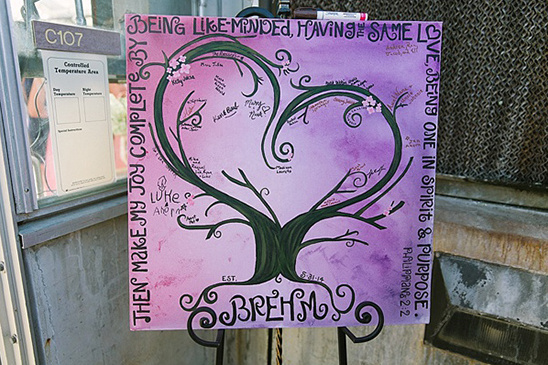 purple ombre heart tree painting guestbook