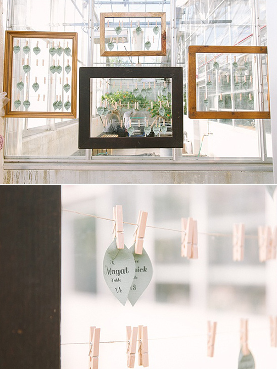 leaf shaped hanging escort cards