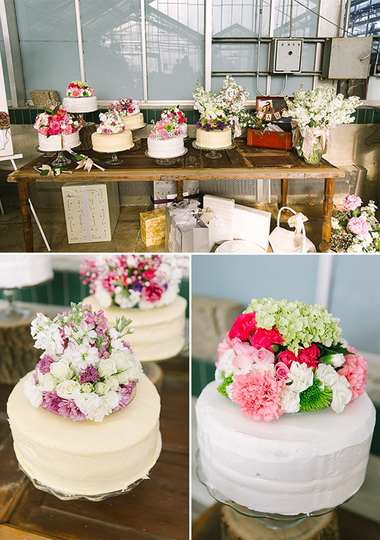 wedding cakes with floral bunch toppers