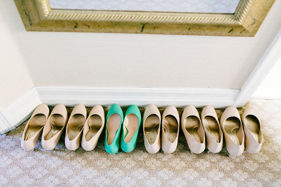 tan and mint wedding shoes