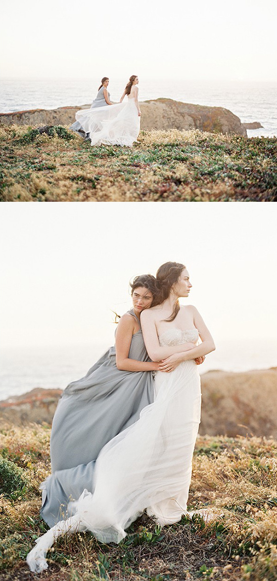 flowing gowns on the cliff