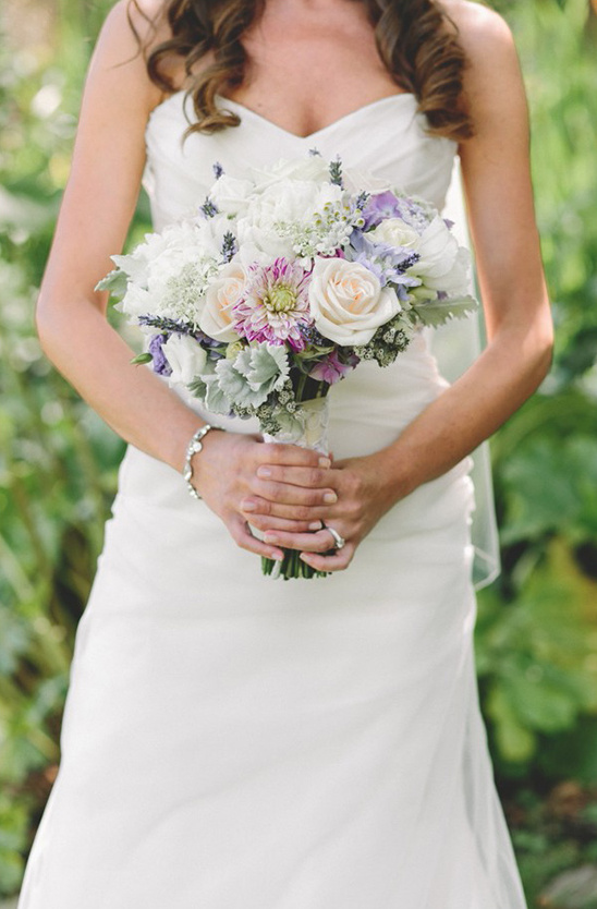 purple cream and white bouquet